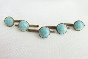 Antique Vintage 1900s Rolled Gold Genuine Turquoise Shirt Studs Buttons