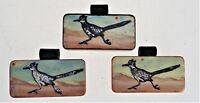 "3 Painted Domino Tiles Roadrunner Bird Jewelry Pendant Hanging Decor 1""x 2"""