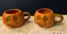 2 Vintage McCoy Pottery Jack O'Lantern Pumpkin Mugs