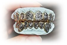 S. Silver or 10K Solid Gold Custom Made 2 Tone Diamond Cut Grill Grillz