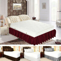 Valance Elastic Ruffled Bed Skirt: Wrap Around Easy Fit, Queen or King Sizes