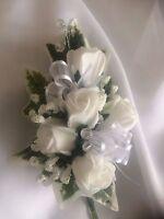 *NEW*  Ladies  Wedding Corsage Ivy,Gyp, White Roses , Ribbons & Embellishments