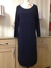 Jaeger Blue Black Mix 100% Wool Real Leather Cuir Dress In Good Condition (B4U)