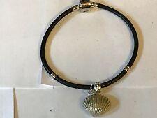 Concha De Mar TG113 de estaño bien inglés en una pulsera serpiente de imitación de cuero