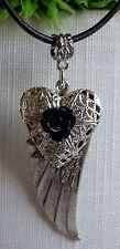 schöne Flügel Schutzengel Halskette mit Foto Medaillon Herz Rose Gothik Vintage