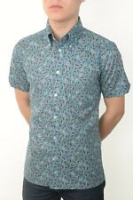 Art Gallery Clothing - Short Sleeve Fitted Shirt- Aqua Paisley S  Mod Sixties