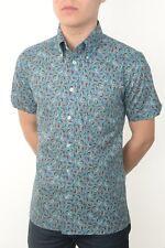 Art Gallery Clothing - Short Sleeve Fitted Shirt- Aqua Paisley L  Mod Sixties