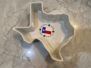 Texas Dog Ceramic Bowl in shape of Texas w Flag NEW!