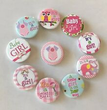 "Girl baby shower Set of 10 Pin back buttons 1.25"" inch Badge Gift it's a girl"