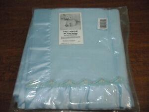 """Vintage Chatham Mine Alone Baby Blanket Satin Handknit Trim Blue 40""""x45"""" NIOP"""