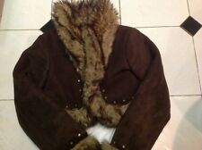 Woman's  Brown Suede Jacket with fur lining  Size 12