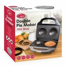 Quest Black/Silver Electric Deep Fill Non Stick Double 2 Pie Maker 700W
