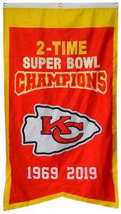 Kansas City Chiefs  2-Time Super Bowl Champions Banner Flag 30x50Inch Man Cave