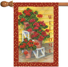 Toland Polka Dot Geraniums 28 x 40 Colorful Red Flower Welcome House Flag