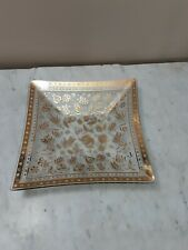 """Vtg Signed George Briard Gold Square Glass 9 3/4"""" serving plate"""