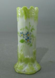 "Antique Decorated Milk Glass Tree Stump 4 3/4"" Vase"