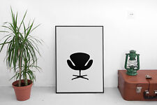 "Arne Jacobsen ""Swan Chair"" Silhouette Poster 