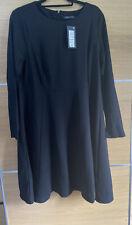 M&S Size 18 Black Jersey Skater Dress Long Sleeve Smart Work Bnwt