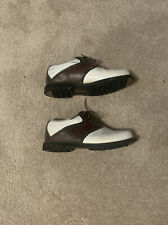 Mens Dunlop Brown and White Spikeless Golf Shoes, Size 9