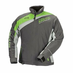 New Arctic Cat Snowmobile Women's Racing Jacket ~ Med ~ Gray/Lime ~ # 5280-372
