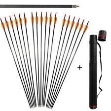 "6x 31"" Spine 400 Archery Carbon Fiber Arrows For Compound Bow & Back Quiver Tube"