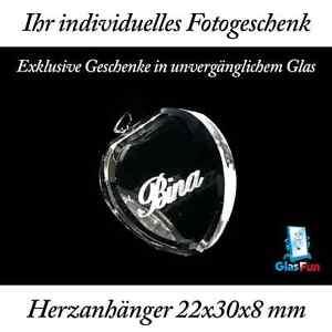 2D Herzanhänger Quader Kristall Geschenk Foto Graviert Glasfun 22x30x8 mm