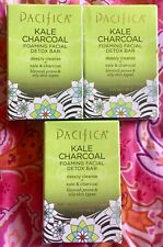 3 NEW PACIFICA KALE CHARCOAL FOAMING FACIAL DETOX BAR BLEMISH OILY FREE SHIPPING