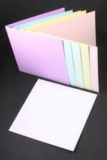 5 x 5  PASTEL CARD BLANKS  STRAIGHT EDGED  5 COLOUR  & WHITE ENVELOPES