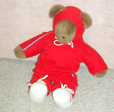 Vintage 1979 red Albert The Running Bear , North American Bear Co.