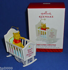 Hallmark Ornament Baby's First Christmas 2014 Winnie the Pooh in Cradle NIB