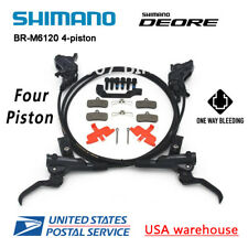 SHIMANO Deore BR-M6120 BL-M6100 Bike 4-Piston MTB Hydraulic Disc Brake Set (OE)