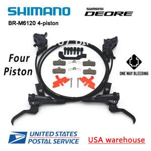 SHIMANO Deore BR-M6120 BL-M6100 Bike 4-Piston MTB Hydraulic Disc Brake Set (OE)