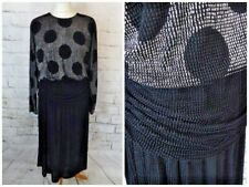 Vintage 70s black silver textured long sleeve draped spotted dress 12