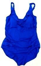 Jantzen Size 16 Solid Night Blue Ruffle Front 1-Piece Swimsuit $92 NWT