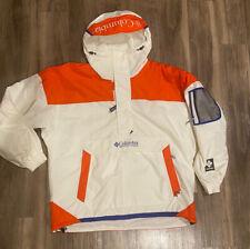 VTG COLUMBIA Pullover Anorak Ski Snowboard Jacket Retro Men's Sz XL SHARP WHITE