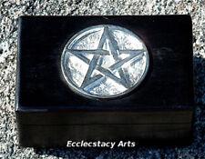 "Pentagram (Pentacle) Wooden Box Jewelry-Tarot Cards-WICCA - 4"" x 6"" NEW {:-)"