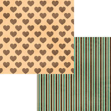 """12""""x12"""" Scrapbook Paper DELIGHT Perfect Blend Hearts Stripes Coffee Java"""