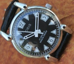 Antique Vintage Swiss Watch 17Jewels FHF ST96 HAND WINDING Black Dial Men's