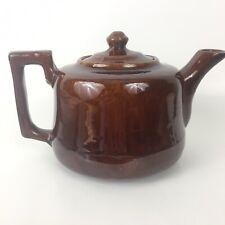 Coffee Tea Pot Lid Home Decor Retro Vintage Brown Earthenware 5.5�T X 9�W