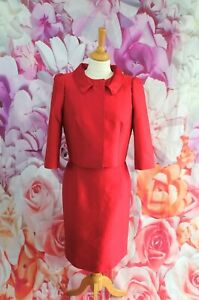 HOBBS Red/pink Wool & Silk 2 piece dress suit outfit size 12