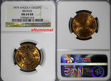 Angola Bronze 1974 1 Escudo NGC MS64 RB 26 mm Last Year Type  KM# 76 NO RESERVE