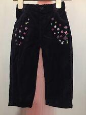 Lovely Baby Girls Soft Navy Velvet Floral Embroidered Trousers 18-23m💕