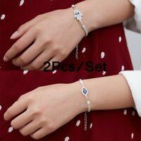 2Pcs Hamsa Bracelet Evil Eye Bangle Chain Adjustable Crystal Women Men Jewelry