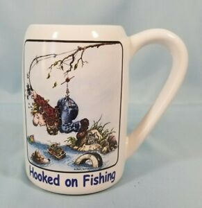 """Fishermen Stein, Gary Patterson """"Hooked on Fishing"""" by Design Clay   EUC"""