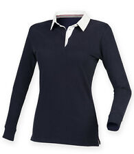Front Row Ladies Womens Super Soft Long Sleeve Rugby Polo Sailing Shirt Navy XXL