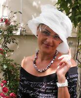 Damenhut traumhafter Organzahut  Weiß  Anlasshut Hochzeit  Ascot Anlasshüte