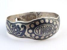 Braclelet ancien argent massif niellé Turquie XIXe Antique Ottoman silver niello