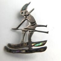 Taxco Mexico Sterling & Abalone Inlay Skier Pin Brooch Eagle Mark 3