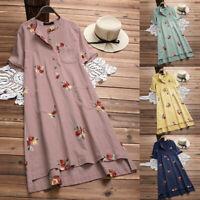Women Linen Fashion Irregular Floral Embroidered Pockets Short Sleeve Midi Dress