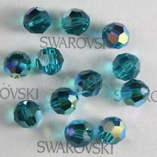 12 pieces Swarovski  5000 faceted 8mm Round Ball Beads Crystal Blue Zircon AB